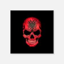 Albanian Flag Skull on Black Sticker