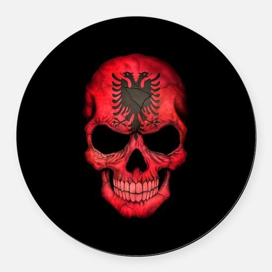 Albanian Flag Skull on Black Round Car Magnet