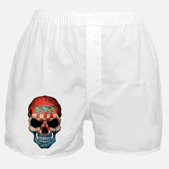 Croatian Flag Skull Boxer Shorts