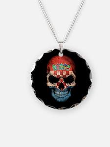 Croatian Flag Skull on Black Necklace