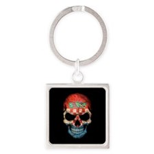 Croatian Flag Skull on Black Keychains