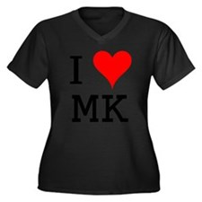 I Love MK Women's Plus Size V-Neck Dark T-Shirt