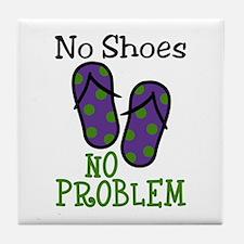 No Shoes No Problem Tile Coaster