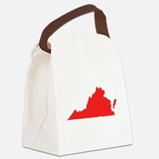Red Virginia Silhouette Canvas Lunch Bag
