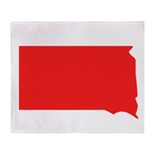 Red South Dakota Silhouette Throw Blanket