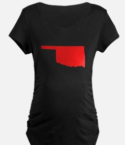 Red Oklahoma Silhouette Maternity T-Shirt