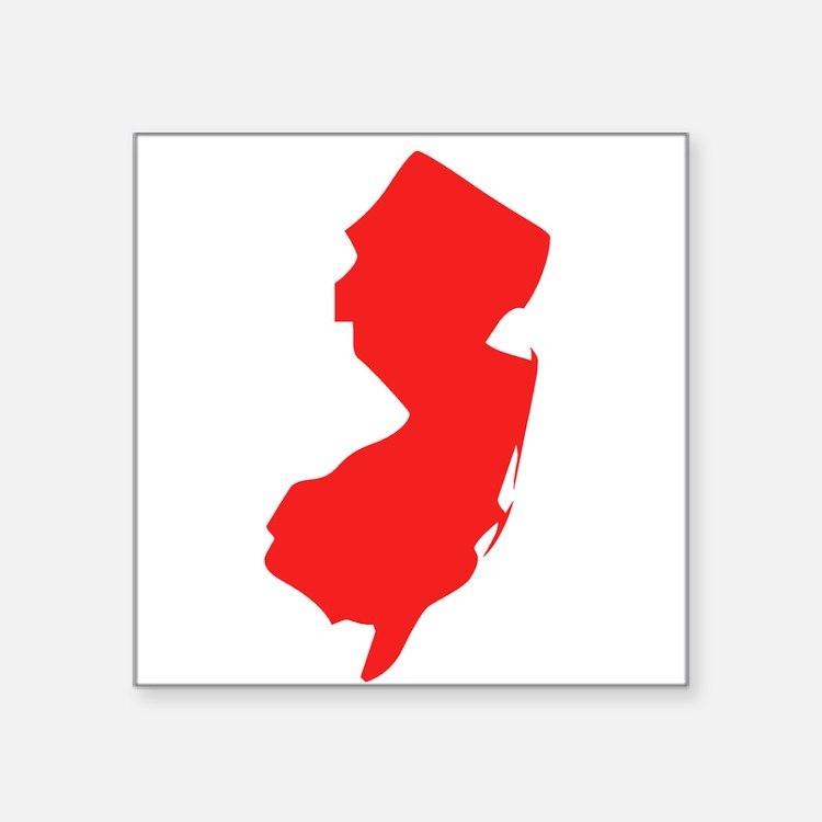 Red New Jersey Silhouette Sticker