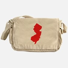 Red New Jersey Silhouette Messenger Bag