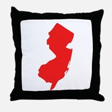 Red New Jersey Silhouette Throw Pillow