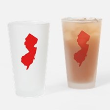 Red New Jersey Silhouette Drinking Glass