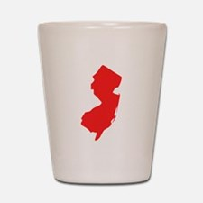 Red New Jersey Silhouette Shot Glass