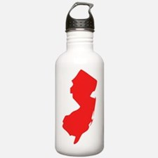 Red New Jersey Silhouette Water Bottle