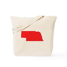 Red Nebraska Silhouette Tote Bag