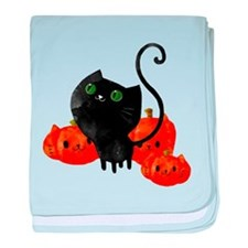 Black Cat and Pumpkin Heads baby blanket