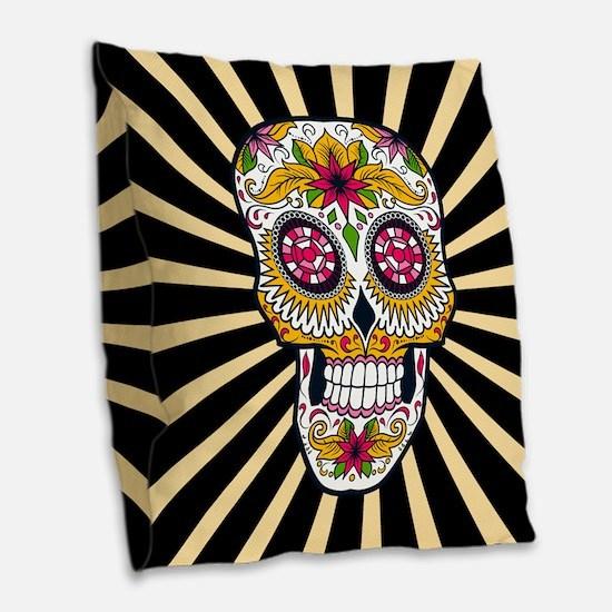 Sugar Skull Burlap Throw Pillow