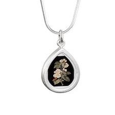 Apple Flowers painting Silver Teardrop Necklace