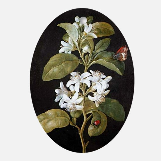 Pear Flower Oval Ornament