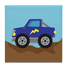 Cool Blue Race Monster Truck Tile Coaster