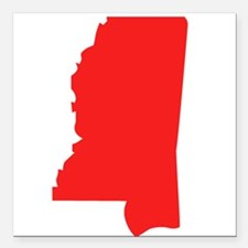 "Red Mississippi Silhouette Square Car Magnet 3"" x"
