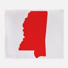 Red Mississippi Silhouette Throw Blanket