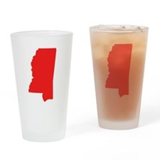 Red Mississippi Silhouette Drinking Glass