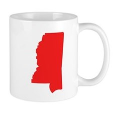 Red Mississippi Silhouette Mugs