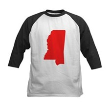 Red Mississippi Silhouette Baseball Jersey