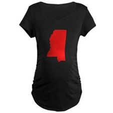 Red Mississippi Silhouette Maternity T-Shirt