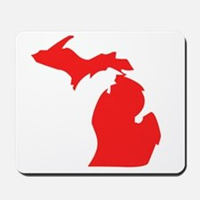 Red Michigan Silhouette Mousepad
