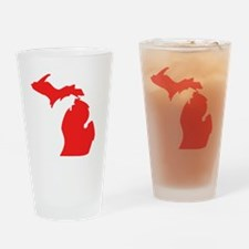 Red Michigan Silhouette Drinking Glass