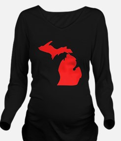 Red Michigan Silhouette Long Sleeve Maternity T-Sh