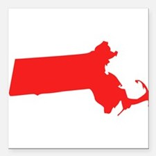 Red Massachusetts Silhouette Square Car Magnet 3""