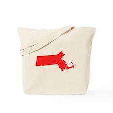 Red Massachusetts Silhouette Tote Bag