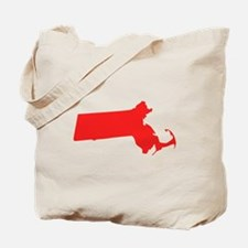 Red Massachusetts Silhouette Tote Bag