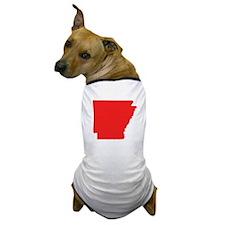 Red Arkansas Silhouette Dog T-Shirt