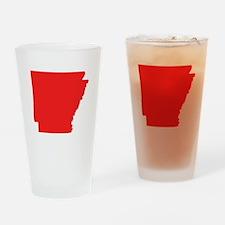 Red Arkansas Silhouette Drinking Glass