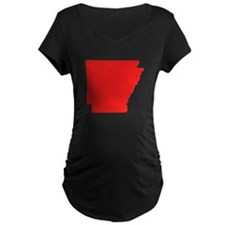 Red Arkansas Silhouette Maternity T-Shirt