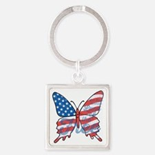 Patriotic Butterfly Square Keychain