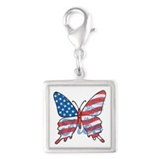 Patriotic Butterfly Silver Square Charm