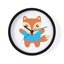 Cute Little Fox in Blue Tee Wall Clock