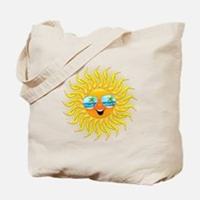 Summer Sun Cartoon with Sunglasses Tote Bag