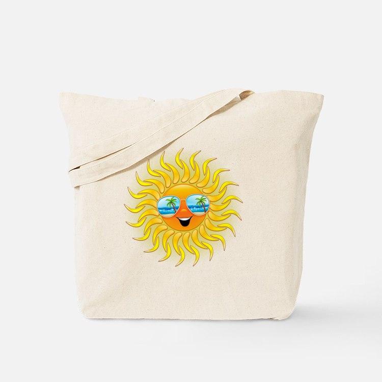Summer Sun Cartoon with Sunglasses Tote Bag