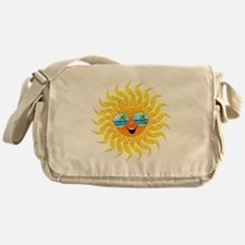 Summer Sun Cartoon with Sunglasses Messenger Bag