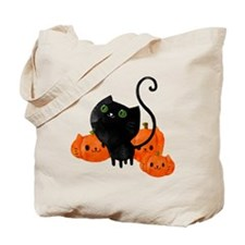 Black Cat and Pumpkin Heads Tote Bag