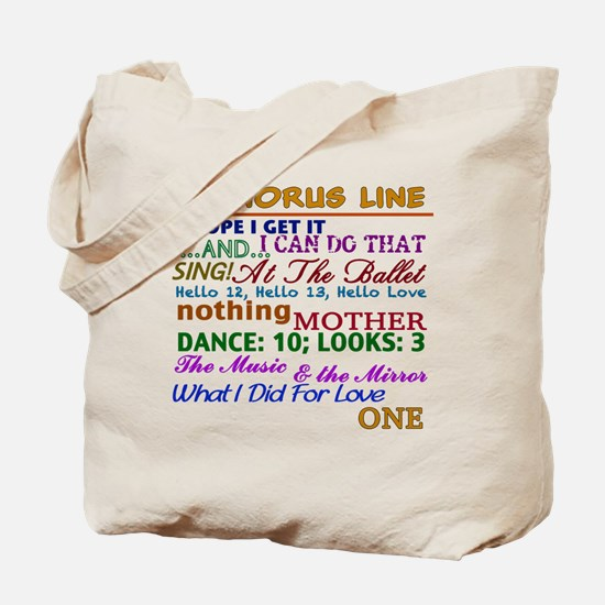 A Chorus Line The Songs Tote Bag