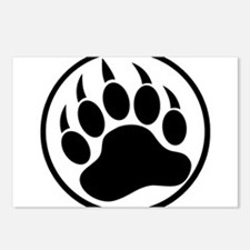 Classic Black bear claw inside a black ring Postca