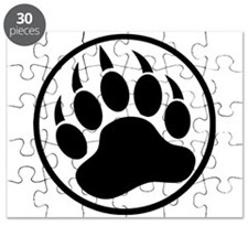 Classic Black bear claw inside a black ring Puzzle