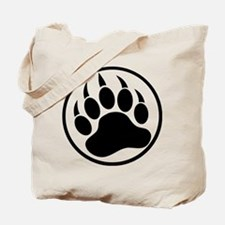Classic Black bear claw inside a black ring Tote B