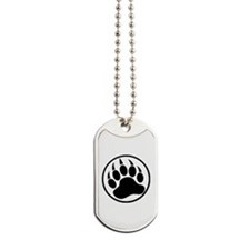 Classic Black bear claw inside a black ring Dog Ta