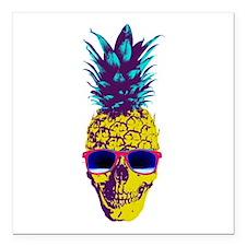"""Pineapple Skull Square Car Magnet 3"""" x 3"""""""